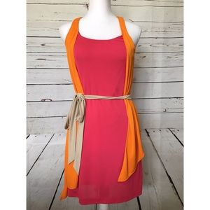 Tibi Belted Pink Orange Dress XS